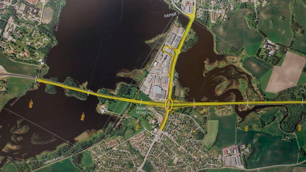 E6 som bygges forbi Hamar, går gjennom Åkersvika naturreservat.