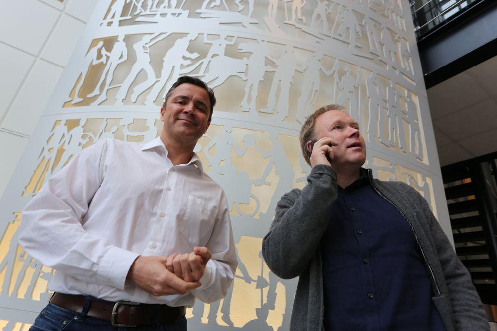 – Vi mener Norge er et Silicon Valley for oljeindustrien, sier Marius Kjeldahl (t.v.) og Andre Backen.