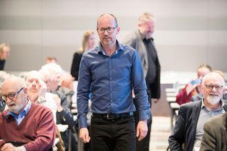 Konsernsjef Per-Magne Tveiten før generalforsamlingen i Mentor Medier i Oslo torsdag.