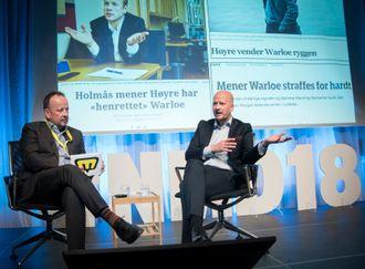 VG-kommentator Frithjof Jacobsen som utspørrer i møte med eksspinndoktor Sigbjørn Aanes under Nordiske mediedager.