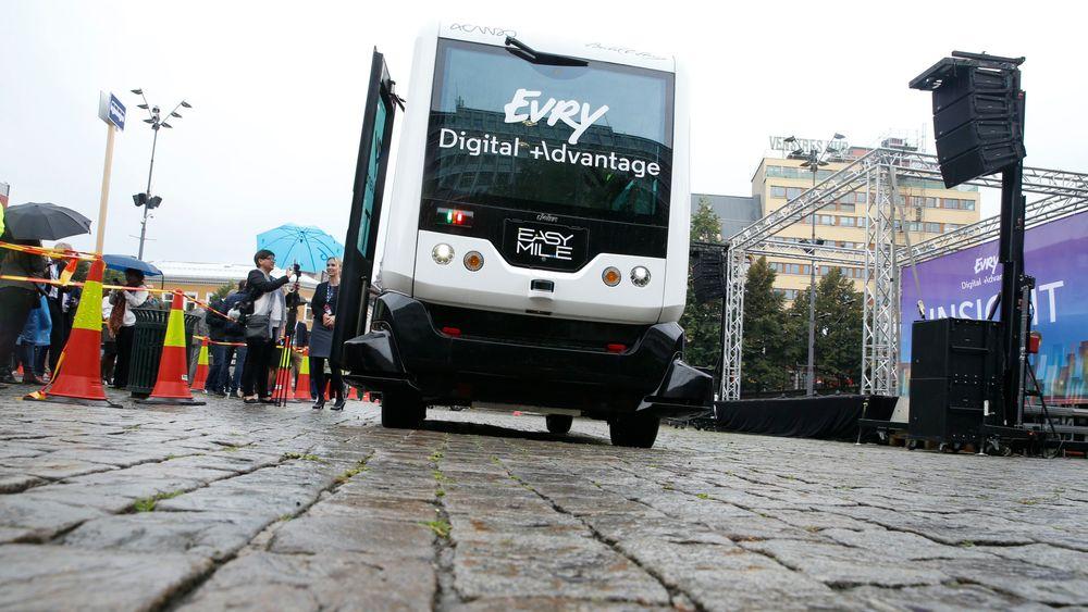 Det er en buss av denne typen – Easy Mile – som skal trafikkere strekningen.