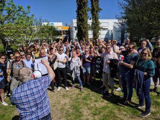 Fra NRK Trøndelags samling etter det ble klart at NRK-journalistene går til streik.