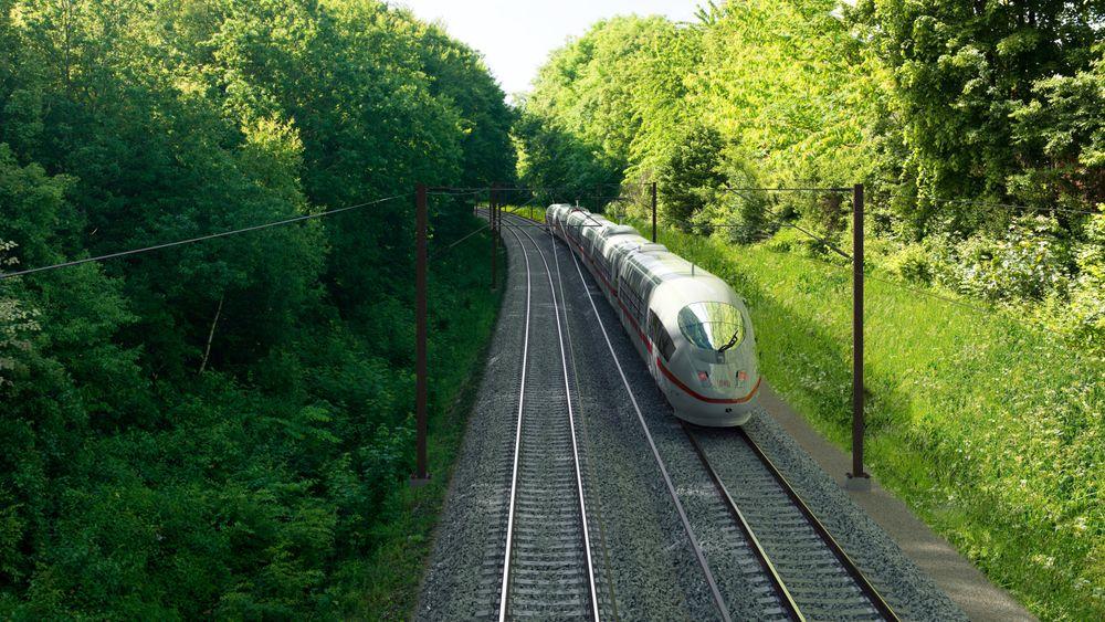Fra Ringsted-Femern-banen i Danmark. Toget på bildet er en illustrasjon.