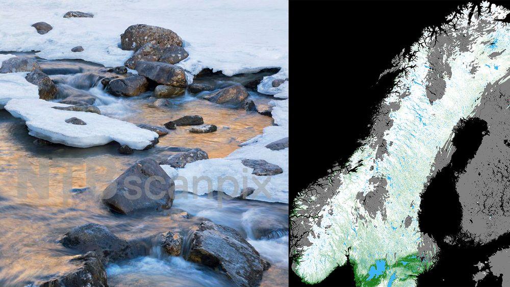 Satellittbildet viser snødekningsgrad i prosent basert på Sentinel-3-data 2. april. Fargeskalaen går gradvis fra hvit (100 prosent snødekt) til grønn (snøfritt). Områder med skyer er markert med grå farge, innsjøer er blå og hav er svart.