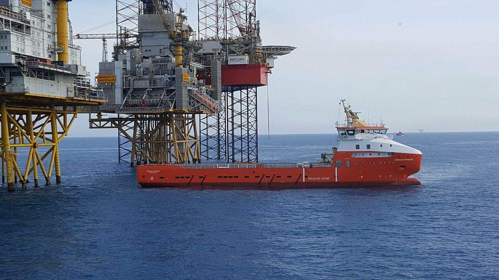 Solstad Farstad-skipet Normand Supporter i arbeid for Conoco Phillips på Ekofisk-feltet. Neste år blir det batterihybrid med 560 KWh batteripakke. Hybridsystemet leveres av Westcon Power and Automation.