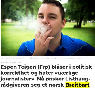 Listhaug-rådgiver Espen Teigen i et intervju med Medier24 sommeren 2017.