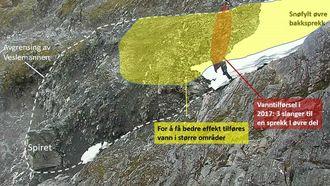 Veslemannen med markeringer av områder som er blitt eller bør bli vannet for å utløse skred.