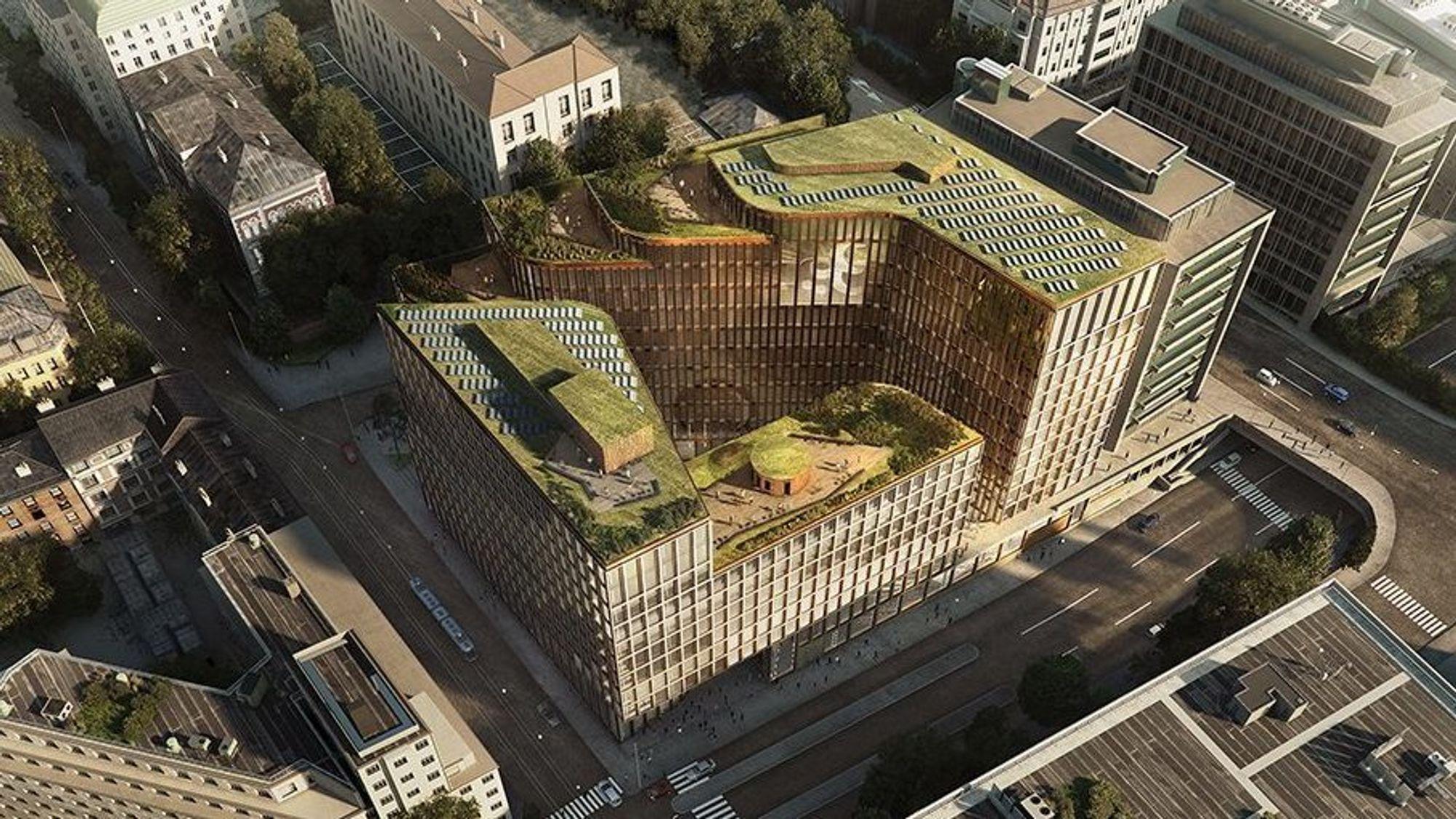 Slik blir Aspelin Ramm og Storebrands nybygg i Vika i Oslo.