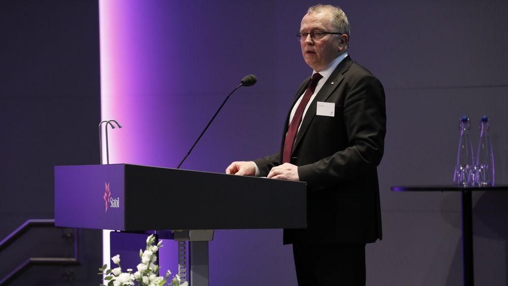 Eldar Sætre under Statoils årlige gjeneralforsamling i Stavanger i 2018.