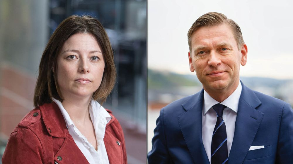 TV 2-direktør Sarah Willand og Schibsted Media-sjef Raoul Grünthal.