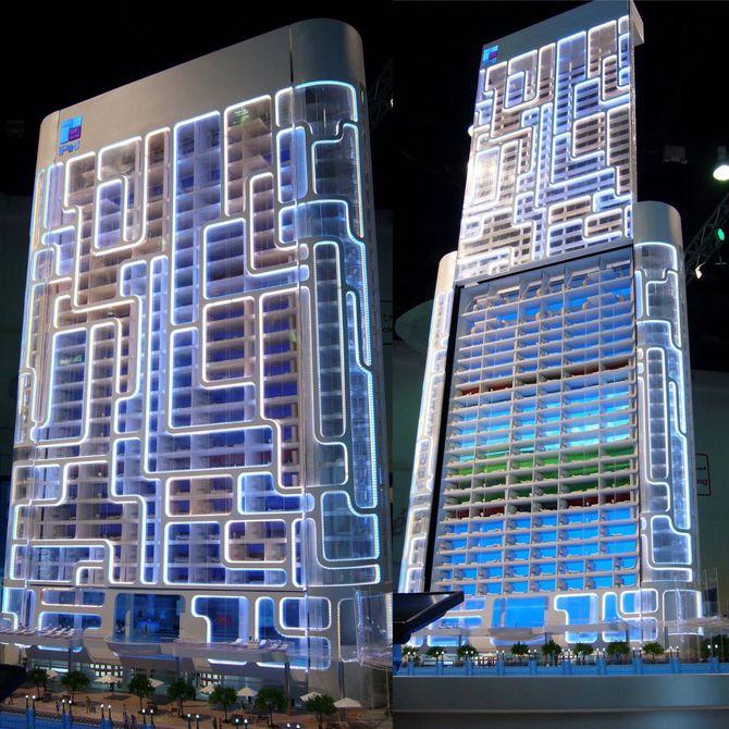 """En modell av """"The Pad"""", bygningen som arkitekten James Law har designet til å se ut som en Ipod."""