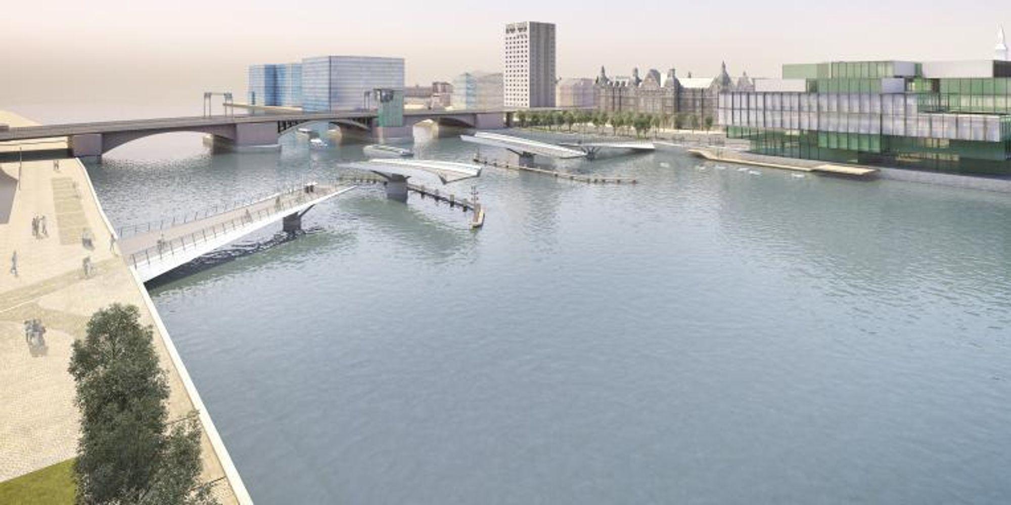 Den nye gang- og sykkelbroen skal gå fra Vester Voldgade til Langebrogad - på samme sted hvor det gikk en bro på 1700-tallet.