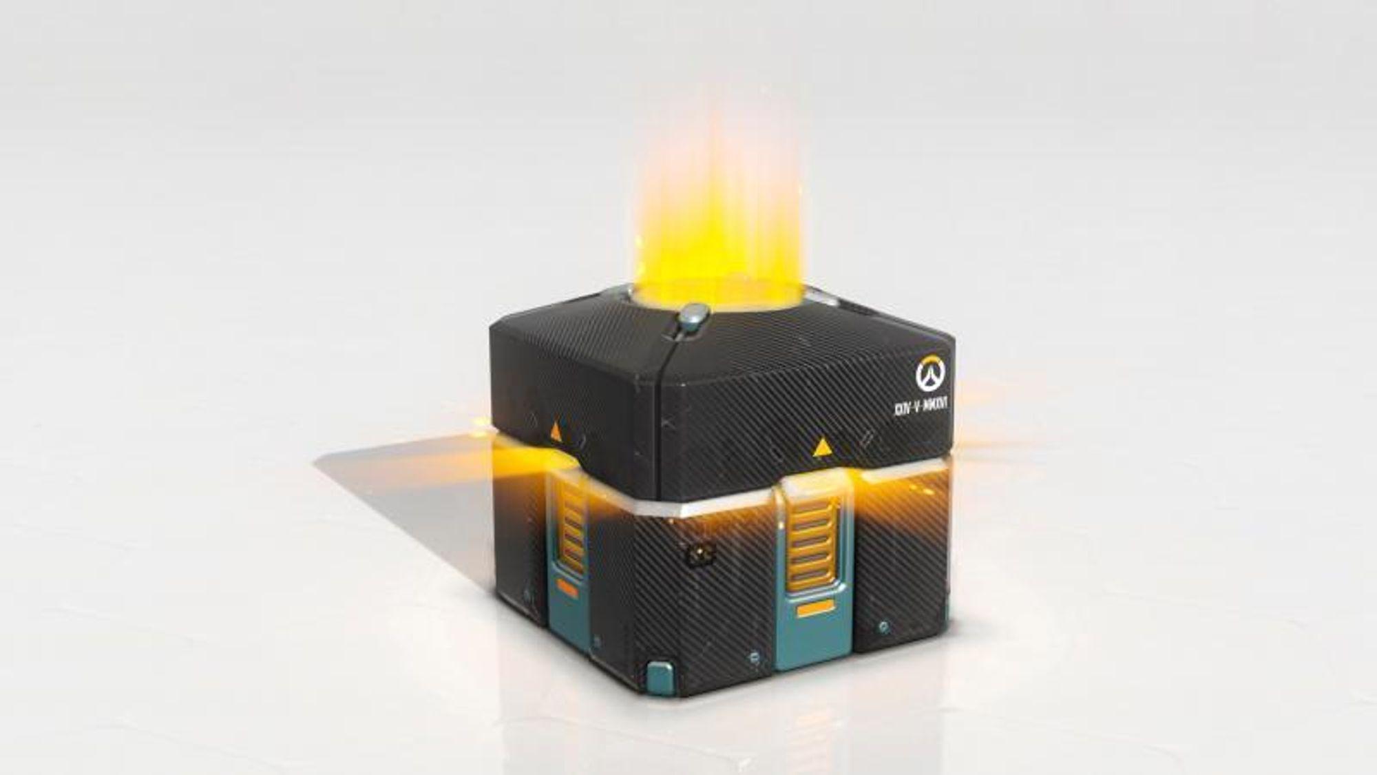 Loot boxes har ulikt utseende, og har ulikt innhold fra spill til spill. Her en loot box fra spillet Overwatch.