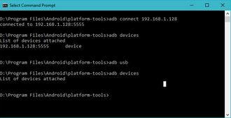 Deaktivering av støtten for ADB via nettverk, gjort ved hjelp av adb-kommandoen i ledetekstvinduet på en Windows-PC.