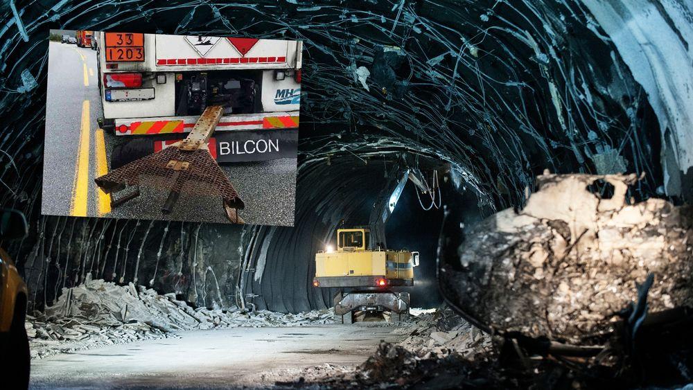 Draget brøt sammen på en tankttilhenger i Skatestraumtunnelen i 2015.
