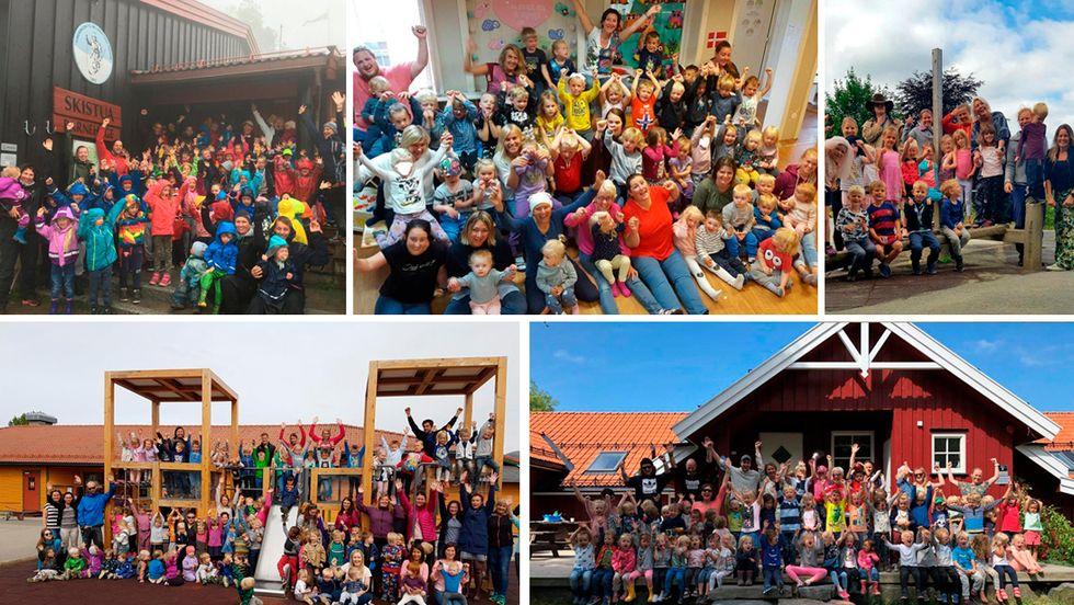 Finalistene til «Årets barnehage 2018» er: Læringsverkstedet Grandehagen i Eydehavn, Norlandia Skistua barnehage i Oslo, Prestelva barnehage i Sortland, Småfolk barnehage i Etne og Tronvik gårdsbarnehage i Moss.