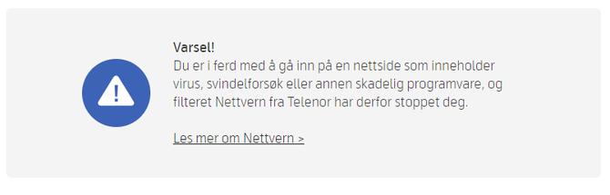 Dette er advarselen Telenor-kundene heretter ofte vil få dersom de besøker en webside med skadelig innhold.