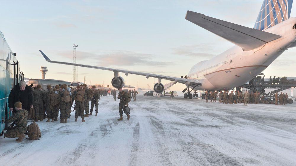 Tre hundre soldater landet på Værnes i januar i fjor.