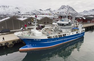 Ny båt: 38 meter lange «Gunnar K.» ble døpt 14. april, og er en av Norges mest moderne kystbåter.