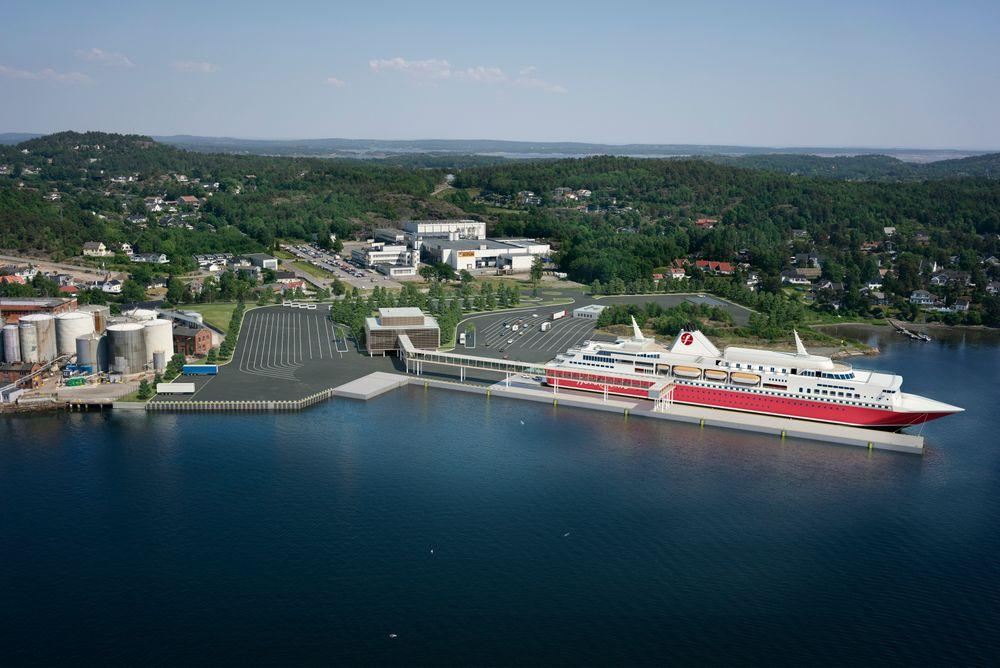 Fjord Line vil kjøpe tomt av Jotun i Sandefjord og bygge moderne fergeterminal på et område tilsvarende 11 fotballbaner.