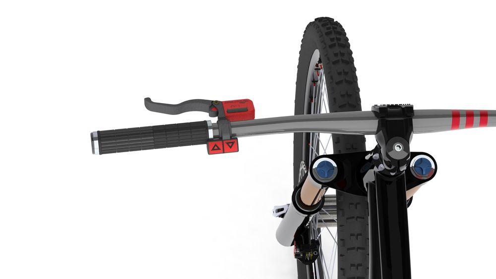 Justerbar: Håntaket på styret sender signaler til bremsene på bakhjulene. Opp og nedknappen gjør at brukeren kan justere bremsekraften uten å gå inn i appen.