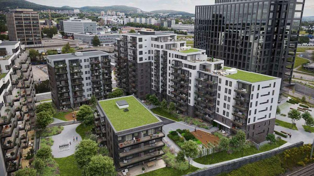 På Lørenporten i Oslo selges leilighetene for fra 3,4 til ca. 14 millioner kroner.