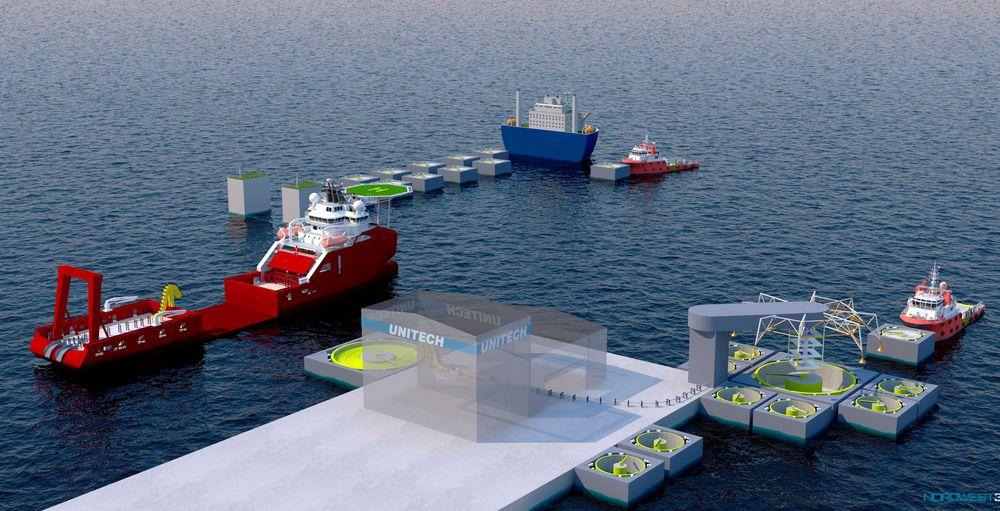 Arkimedes: Slik ser Unitech for seg den nye flytende kabelfabrikken med tvinning av flere delkabler sammen til høyre, påføring av plastbeskyttelse i midten og til venstre nedsenkbare skip, som venter på dreieskive med ferdig kabel.