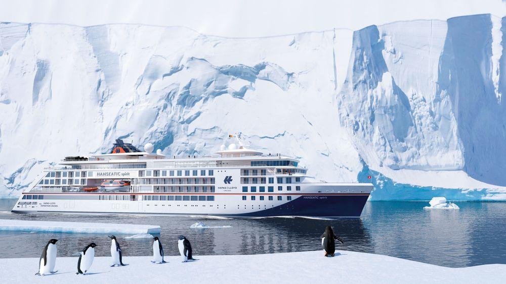 Hanseatic Spirit skal det nye femstjerners cruiseskipet med isklasse PC6 til Hapag-Lloyd døpes. Det får 120 kabiner med plass til totalt 230 passasjerer og et mannskap på 175