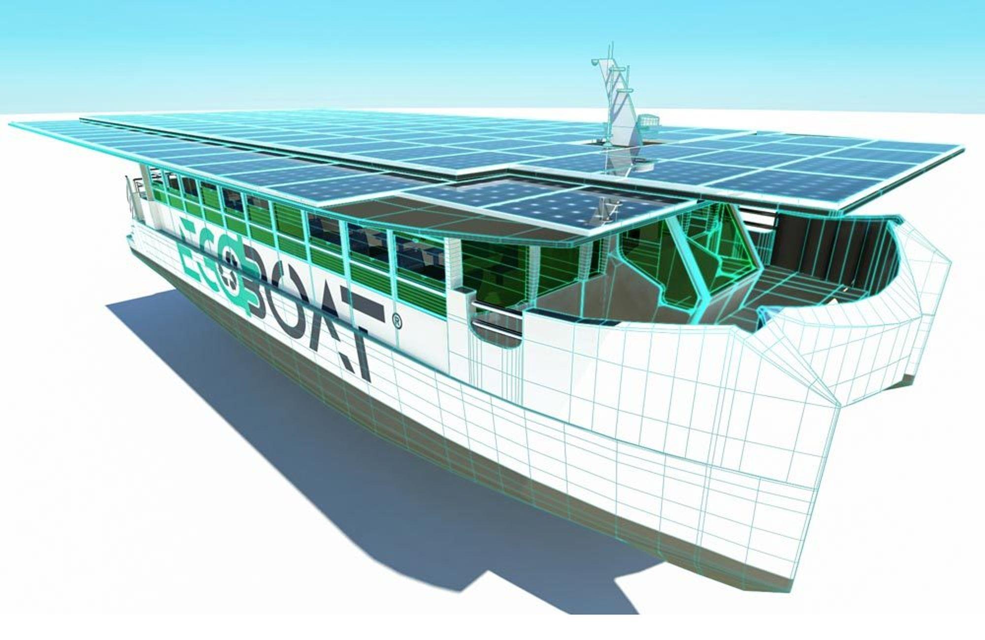 Ecocat har 120 solpaneler på taket. Et pneumatisk system sørger for at arealet utvides ved at paneler skyves ut på begge sider.