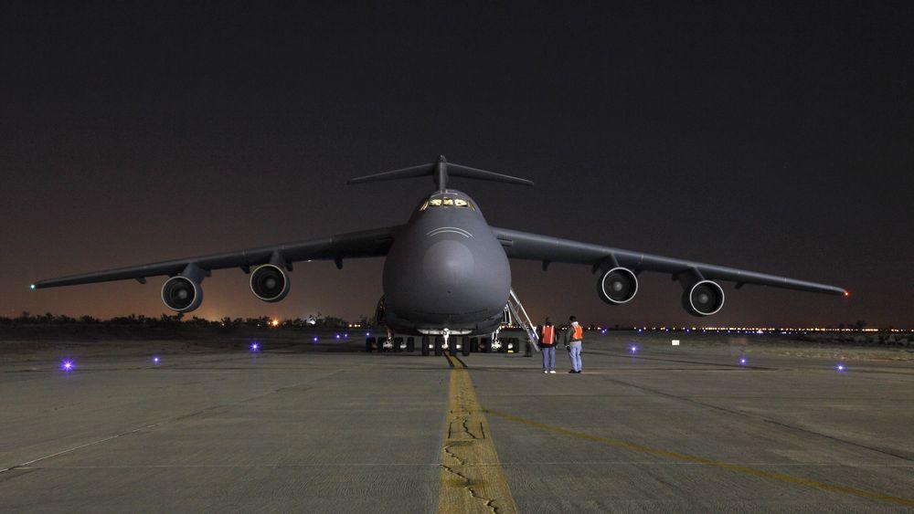 Et C-5A, som til vanlig er stasjonert på Stewart Air National Guard Base, har landet på Lockheed Martin-fabrikken for å få utført tungt vedlikehold.
