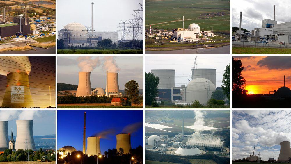 En sammensetning av bilder viser noen av kjernekraftverkene som Tyskland har stengt ned etter Fukushima-ulykken i 2011. Øverst fra venstre: Brunsbuettel, Unterweser, Brokdorf, Kruemmel, Emsland, Grohnde, Biblis A, Biblis B, Grafenrheinfeld, Philippsburg, Neckarwestheim og Isar 1 og 2.
