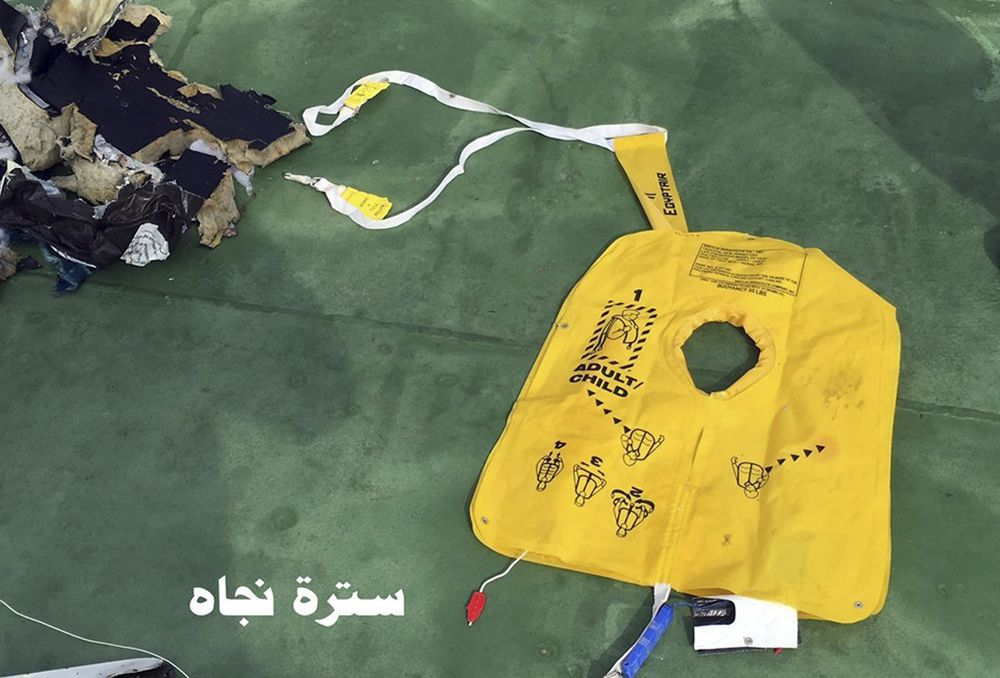 Restene som ble funnet fra EgyptAir-flyet som styrtet i Middelhavet 19. mai 2016, var spredt over et stort område. Denne redningsvesten ble funnet to dager etter styrten.