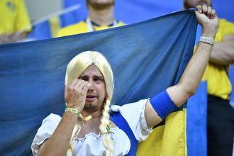 Svenske fans reagerte etter tapet mot England i lørdagens kvartfinale mellom Sverige og England på Samara Arena under VM i fotball i Russland