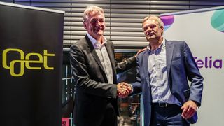 Telia slukte Get TDC Norge i fjor. Her fra pressekonferansen med (fra v.) Gunnar Evensen i Get og Abraham Foss (t.h.) fra Telia.