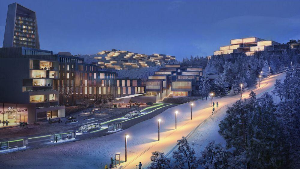 Slik ser utbyggerne av Sollihøgda plussby for seg at stasjonsområdet i det planlagte byprosjektet kan bli seende ut.