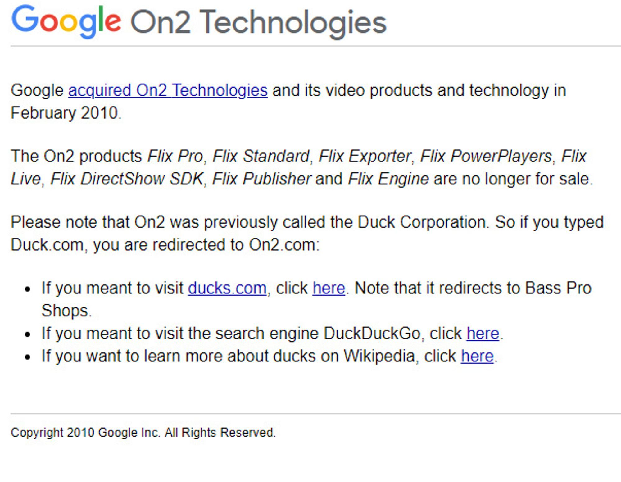 Nettstedet On2.com og Duck.com