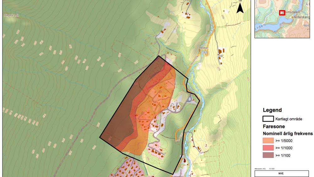 Faresonekart produsert av NVE. Eksempelet er hentet fra NVEs rapport for Årdal kommune fra 2013 og viser Seimsdalen vest.