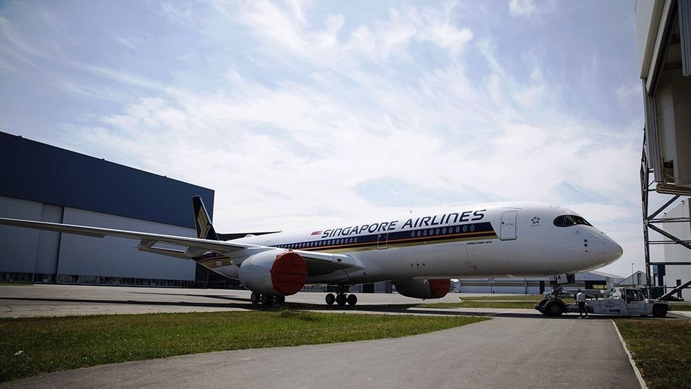 A350 XWB Ultra Long Range, ferdiglakkert i lanseringskundens farger.