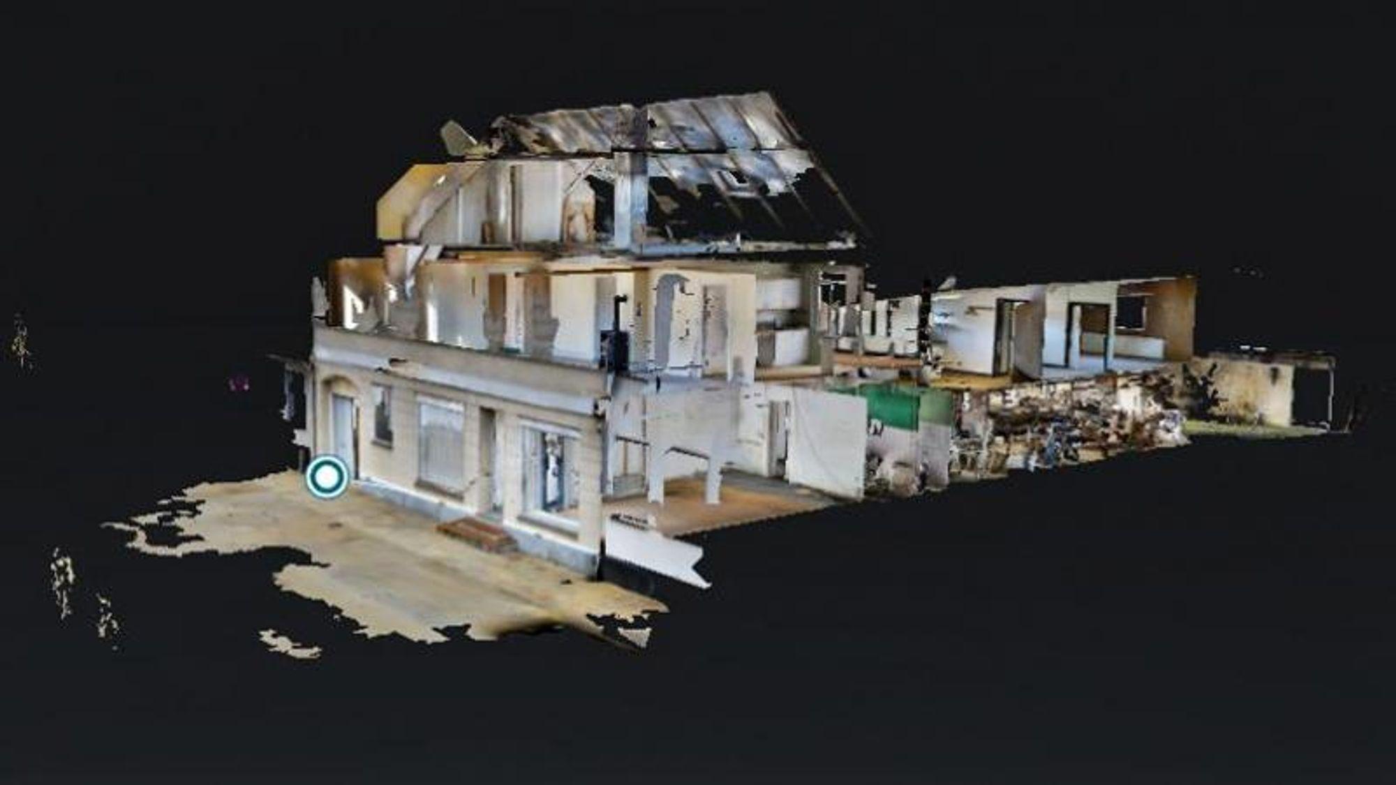 Slik ser Ørstedsgade 26 ut på en 3D-modell. 3D-kamera og drone-3D-oppmålinger er noen av de verktøyene som Region Syddanmark og partnerne deres på prosjektet har testet som miljøteknologi.