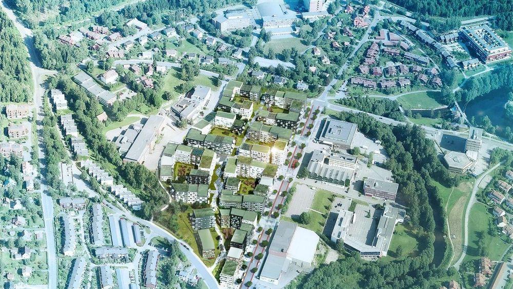 Den høyeste blokka i Frysjaparken, et boligfelt som er under oppføring like ved Nordmarka, blir på sju etasjer.