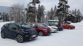 Elbiler hurtiglader i snitt tregere i kulda, ifølge ny amerikansk forskning. Bildet viser en rekke elbiler ved en hurtigladestasjon i Valdres.