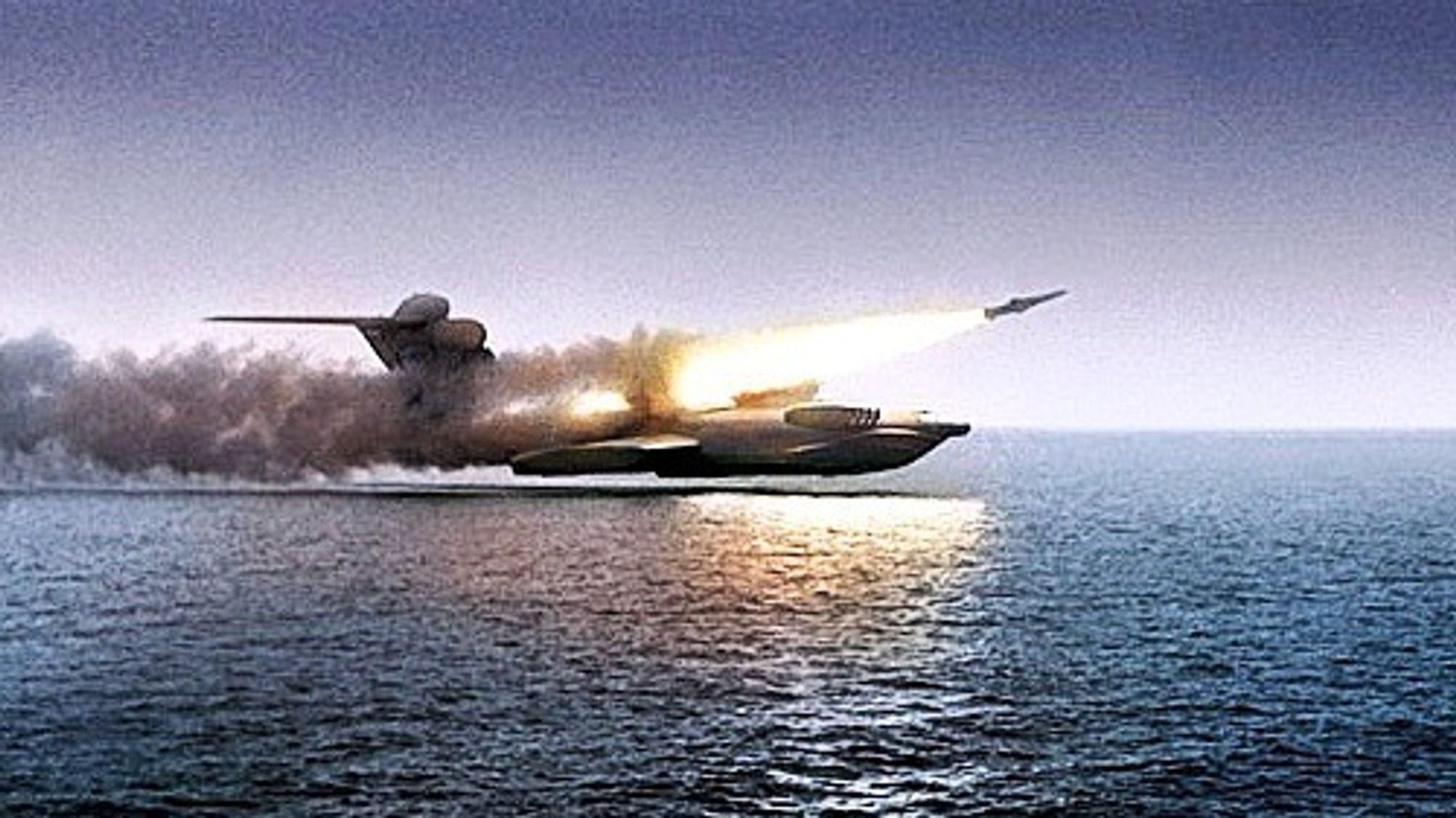 MD-160, det eneste ekranoplanet i Lun-klassen som ble bygget, avfyrer et missil under testing.