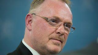 Per Sandberg fotografert under en pressekonferanse i april 2018.