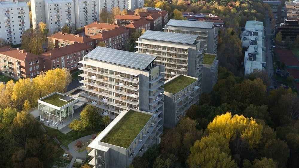 Riksbyggen står bak boligprosjektet Brf Viva i Gøteborg. Der skal alle blokkene bygges med solceller på taket og brukte bussbatterier til energilagring.