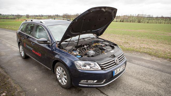 Denne eldre utgaven av Volkswagen Passat er utstyrt med et ettermontert avgassrensesystem som skal gi NOx-utslipp på nivå med helt nye dieselmotorer.