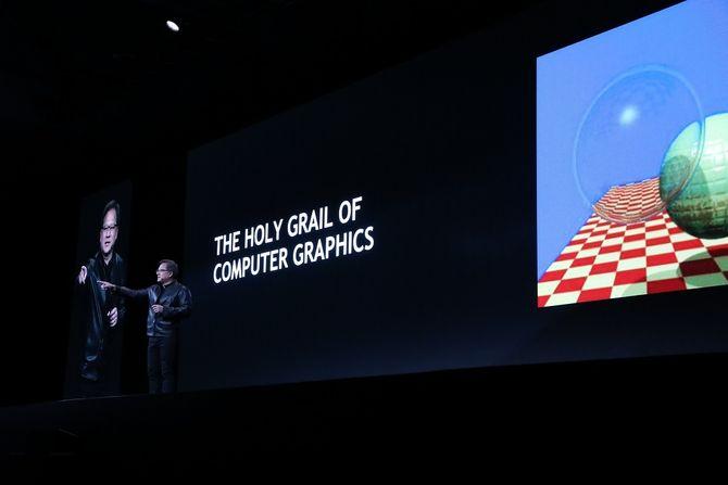 """Nvidia-sjef Jensen Huang hevder at sanntids raytracing er """"den hellige gral"""" innenfor datagrafikk."""