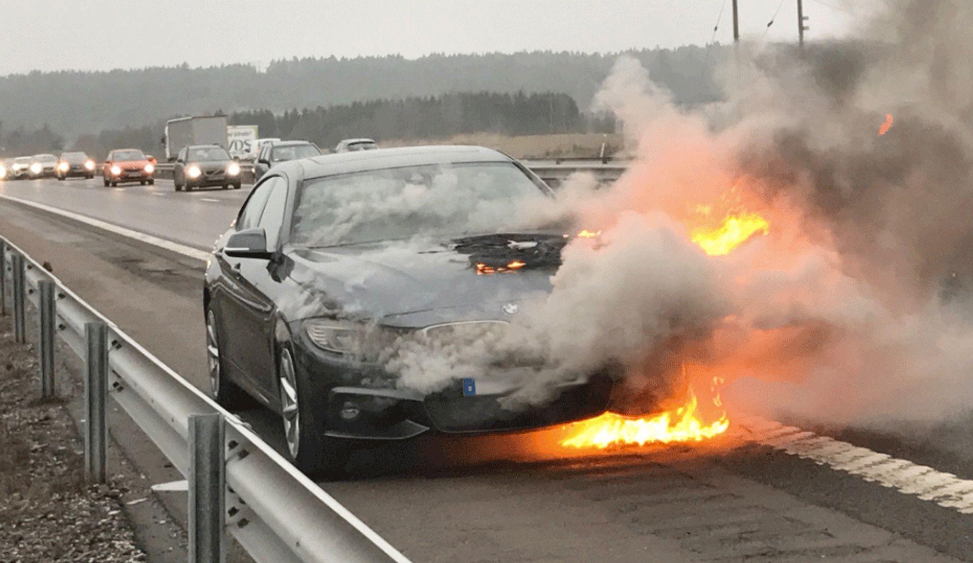 Krister Cervin fikk aldri vite hvilken feil som førte til at familiens 1,5 år gamle BMW 435 Gran Coupé tok fyr. Privat bilde.
