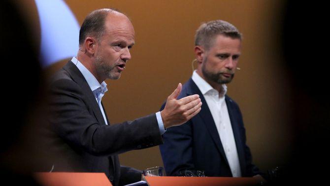 Ole Erik Almlid, viseadministrerende direktør i NHO, og Bent Høie (nestleder i Høyre).