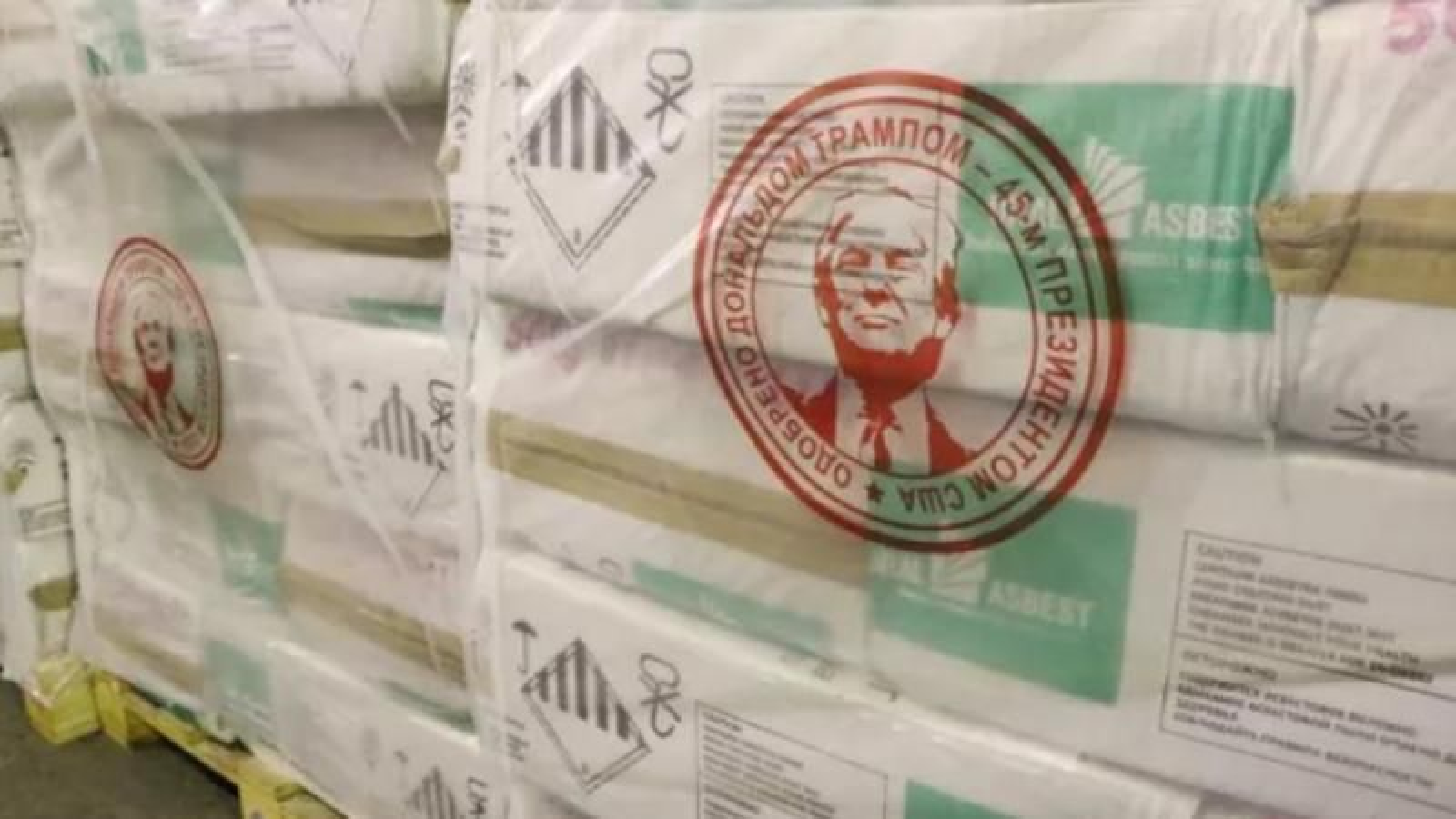 «Godkjent av Donald Trump, den 45. President i Amerikas forente stater», står det nå på pakkene med asbest som Uralasbest sender til USA.