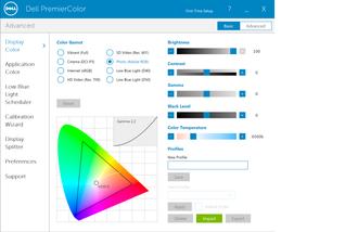 Med Dell PremierColor-programmet kan du endre fargeprofiler og fargerom for å tilpasse skjermen ulike formål.